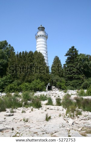 Cana Island lighthouse in Door County - stock photo