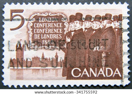 CANADA - CIRCA 1966: A postage stamp of Canada shows London Conference 1866 - stock photo