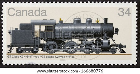 CANADA - CIRCA 1980 A stamp printed at Canada shows a train CP Class P2a 2-8-2 type, circa 1980  - stock photo