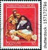 "CANADA - CIRCA 1982: A stamp printed in Canada from the ""Christmas. Nativity Scenes"" issue shows Mary, Joseph and Baby Jesus, circa 1982.  - stock photo"