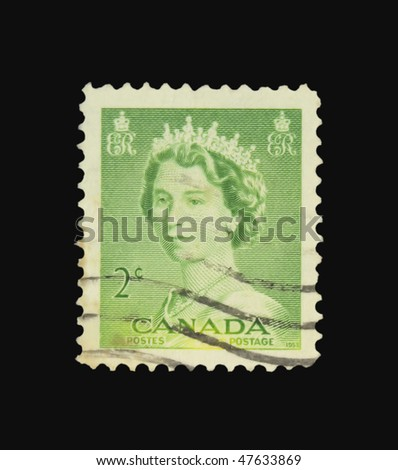 CANADA - CIRCA 1953: A stamp printed in Canada showing Queen Elisabeth circa 1953
