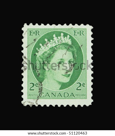 CANADA - CIRCA 1954: A stamp printed in Canada showing Queen Elisabeth circa 1954