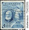 CANADA - CIRCA 1947 : A stamp printed in Canada shows Alexander Graham Bell scientist, inventor, engineer, innovator and creator of the telephone, circa 1947 - stock photo