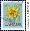 CANADA - CIRCA 1977: A stamp printed in Canada shows Canada lily flower, circa 1977. - stock photo
