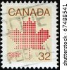 CANADA - CIRCA 1982: A stamp printed in Canada shows  maple leaf, a symbol of Canada, series, circa 1982 - stock photo