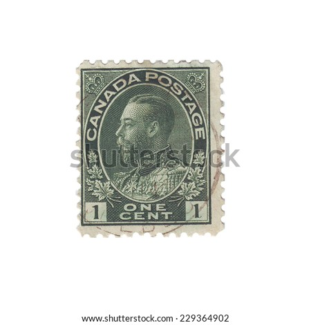 "CANADA - CIRCA 1912: A stamp printed in Canada shows portrait of King George V, without inscription, from the series ""King George V"", circa 1912"