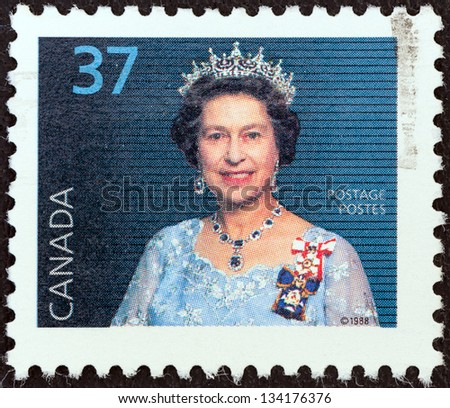 CANADA - CIRCA 1988: A stamp printed in Canada shows Queen Elizabeth II, circa 1988. - stock photo