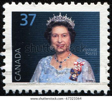 CANADA - CIRCA 1988: A stamp printed in Canada shows Queen Elizabeth II, circa 1988 - stock photo