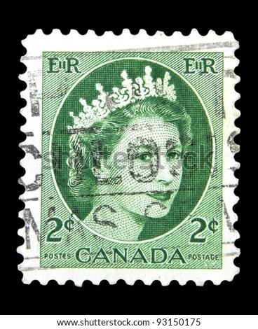 "CANADA - CIRCA 1954: A stamp printed in Canada shows Queen Elizabeth II with the inscription ""E II R"" from the series ""Queen Elizabeth II"", circa 1954"