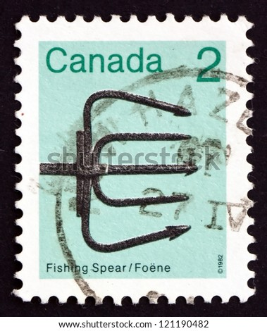 CANADA - CIRCA 1982: a stamp printed in the Canada shows Fishing Spear, circa 1982