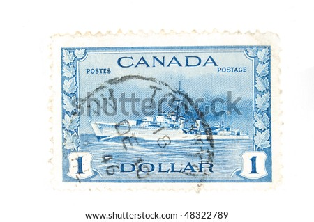 CANADA - CIRCA 1940 : A vintage Canadian postage stamp image of a navy destroyer value of 1 dollar, series circa 1940