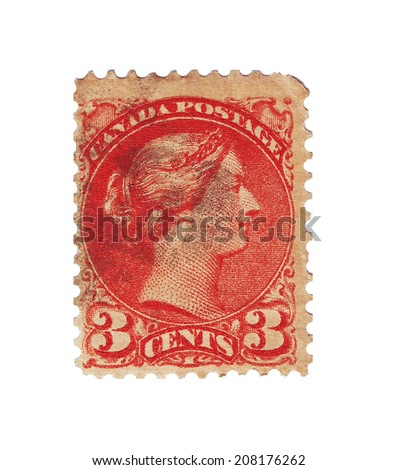 CANADA - CIRCA 1880: An Old British Victorian Used Penny Postage Stamp, circa 1880  - stock photo