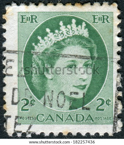 CANADA - CIRCA 1954: Postage stamp printed in Canada, shows Queen Elizabeth II, circa 1954 - stock photo