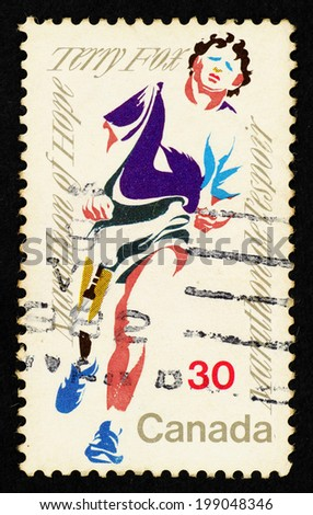 CANADA - CIRCA 1982: Postage stamp printed in Canada with caricature image of Terry Fox to commemorate the Marathon of Hope. - stock photo