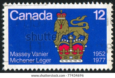 CANADA - CIRCA 1977: stamp printed by Canada, shows arms, circa 1977