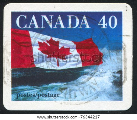 CANADA - CIRCA 1990: stamp printed by Canada, shows Canadian flag, circa 1990