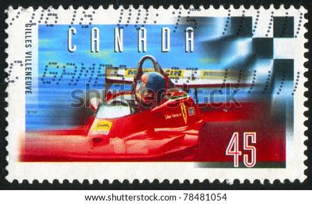 CANADA - CIRCA 1997: stamp printed by Canada, shows Gilles Villeneuve (1950-82), Formula One Race Car Driver, circa 1997 - stock photo