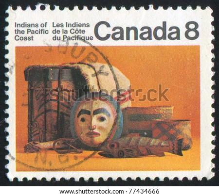 CANADA - CIRCA 1975: stamp printed by Canada, shows Indian artifacts, circa 1975