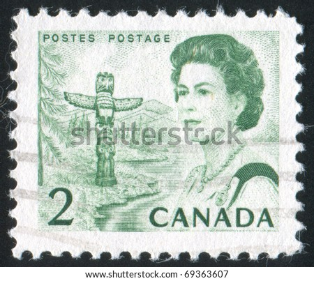 CANADA - CIRCA 1972: stamp printed by Canada, shows Queen Elizabeth II, circa 1972 - stock photo