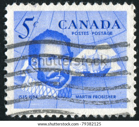 CANADA - CIRCA 1963: stamp printed by Canada, shows Sir Martin Frobisher (1535-1594), Explorer and Discoverer of Frobisher Bay, circa 1963