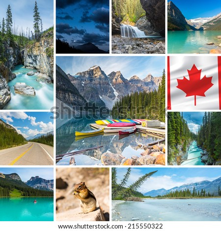 Canada collage Lake Louise waterfall  canoe moraine lake banff jasper national parks - stock photo