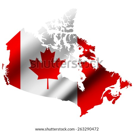 Canada contour map with Canada waving flag. Raster version. - stock photo