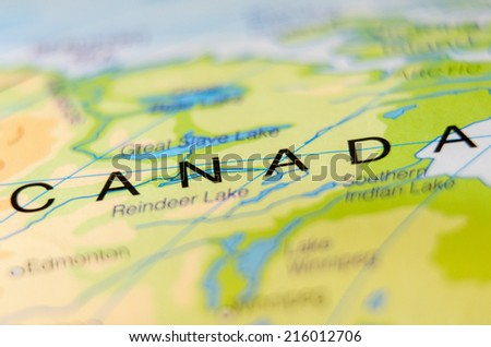 canada country on map - stock photo