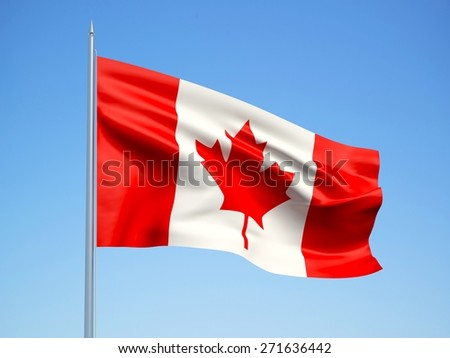 Canada 3d flag floating in the wind with a blue sky background - stock photo