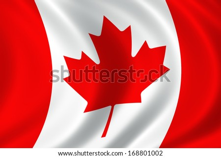 Canada flag fluttering on a wind. Close up. - stock photo