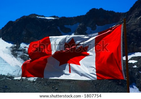 Canada flag flying on the mountain at Whistler. More with keyword group14l