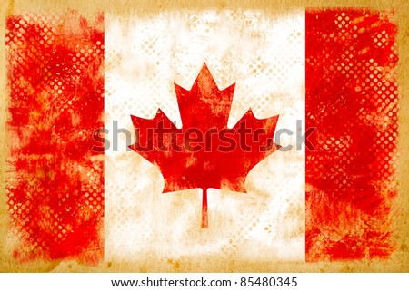 Canada flag grunge  on old vintage paper - stock photo