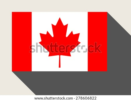 Canada flag in flat web design style. - stock photo