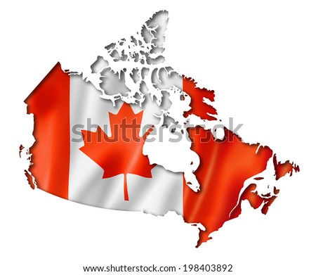 Canada flag map, three dimensional render, isolated on white - stock photo