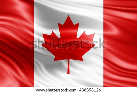 Canada flag of silk-3D illustration - stock photo
