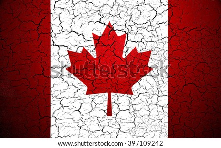 Canada flag. Shattered texture. - stock photo