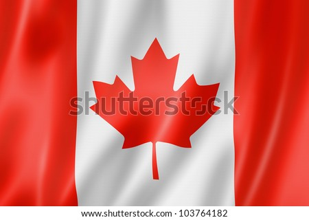 Canada flag, three dimensional render, satin texture - stock photo