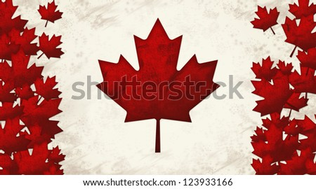 Canada Flag with Red Maple Leaves Worn Look - stock photo