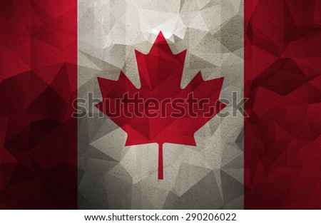 Canada grunge flag. Vintage, retro style. low polygon texture.