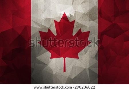 Canada grunge flag. Vintage, retro style. low polygon texture.  - stock photo
