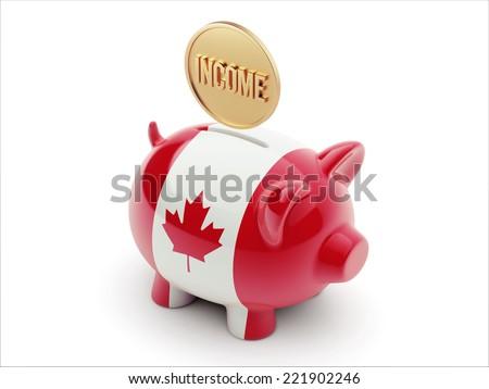 Canada High Resolution Income Concept High Resolution Piggy Concept - stock photo