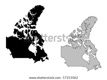 Canada map. Black and white. Mercator projection. - stock photo