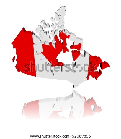 Canada map flag 3d render with reflection illustration