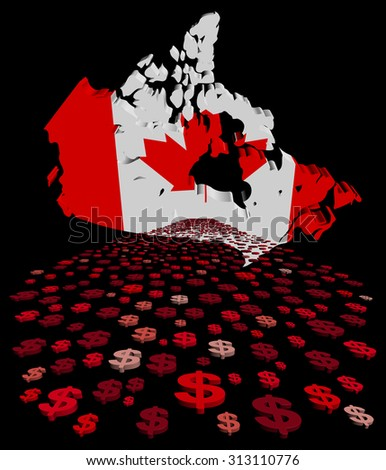 Canada map flag with abstract dollars illustration - stock photo