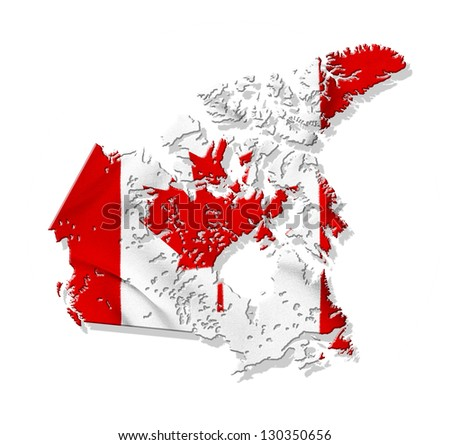 Canada map with waving flag isolated on white background - stock photo