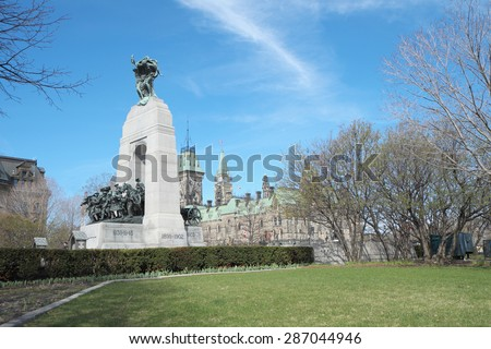 CANADA - MAY 2: The National War Memorial is a tall granite cenotaph with bronze sculptures, that stands in Confederation Square in Ottawa on May 2, 2015.