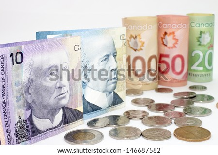 Canada money money on the white background. - stock photo