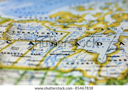 Canada on the map. - stock photo