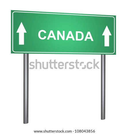Canada on the road sign isolated on withe