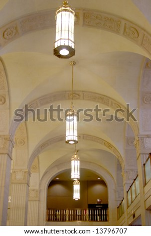 Canada Permanent Building. Chandeliers are replicas restored in 2001 - stock photo