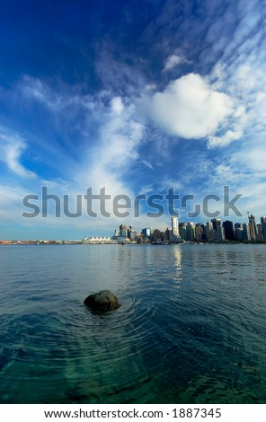 Canada Place harbor view with rock and wave. More with keyword group14b